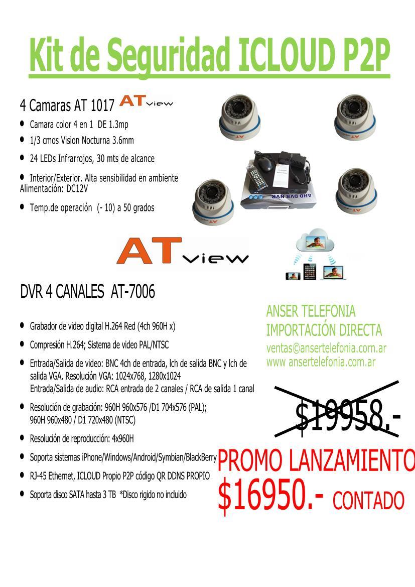 Kit DVR 4 Canales con 4 Camaras infrarrojas Anser Telefonia AT View