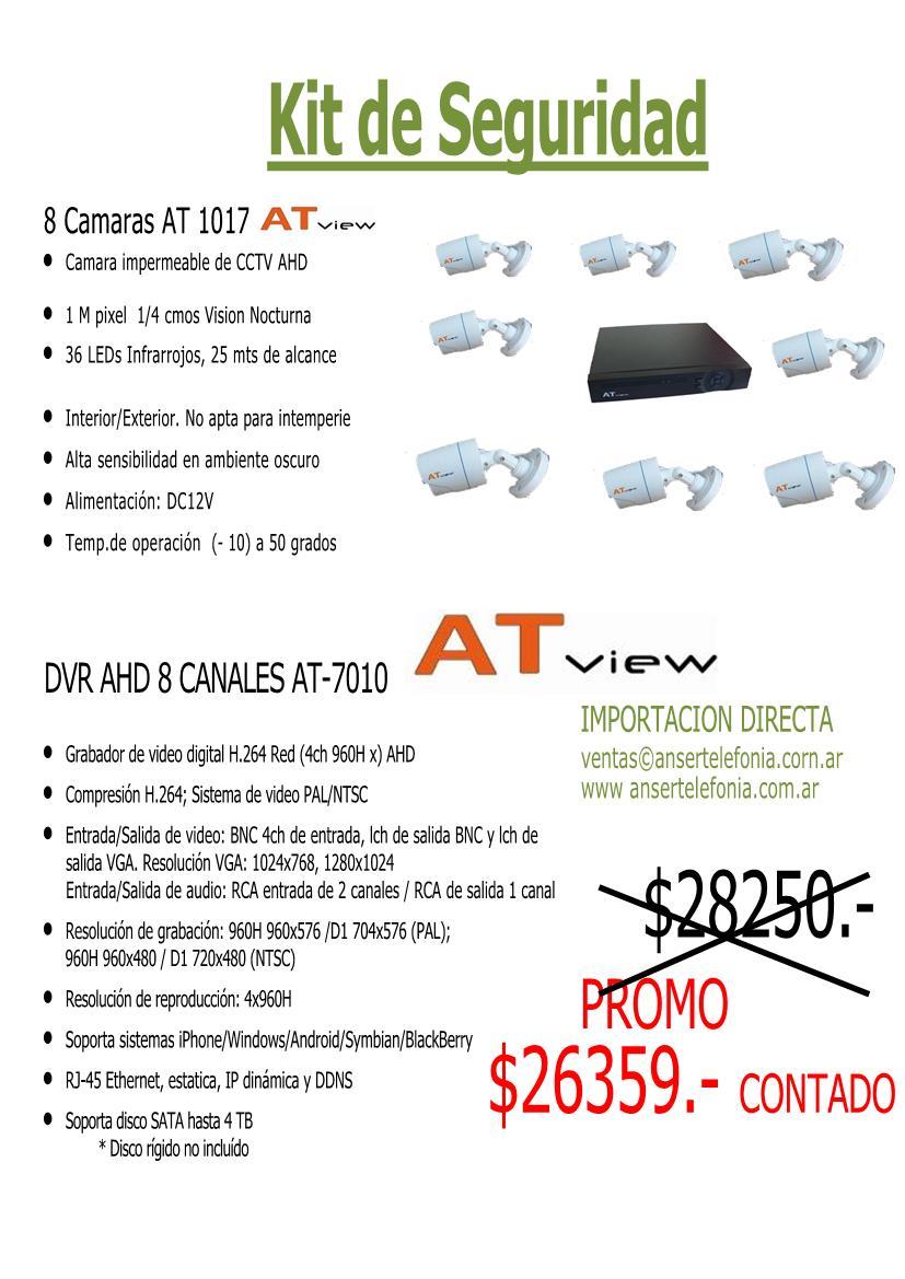 Kit DVR 8 Canales con 8 Camaras Infrarrojas AT View Anser Telefonia